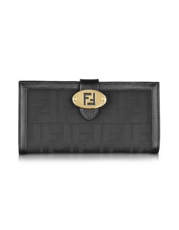 Fendi Zucca Logo Long Black Card Holder Wallet