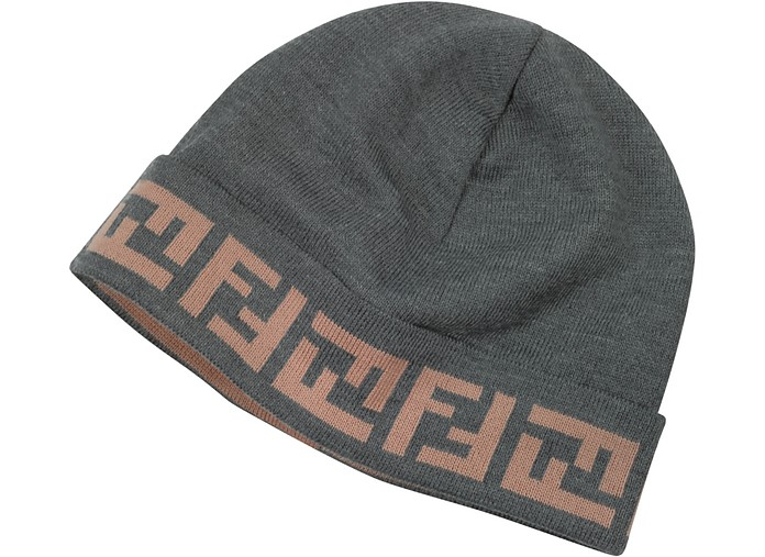 Logo Brim Knit Wool Hat - Fendi