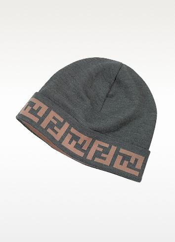 Logo Brim Knit Wool Hat - Fendi