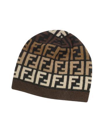 zoom view Video Fendi Bonnet en tricot multicolore à logo Zucca