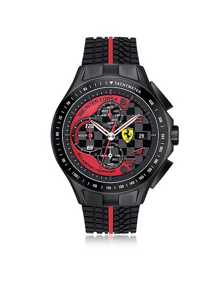 Ferrari Race Day Herrenuhr mit Chronograph aus Edelstahl in schwarz und rot mit Silikonarmband