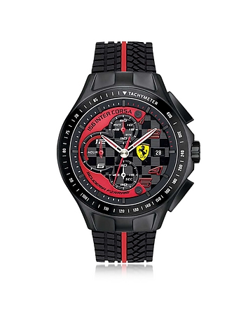 Race Day Black and Red Stainless Steel Case and Silicone Strap Men's Chrono Watch