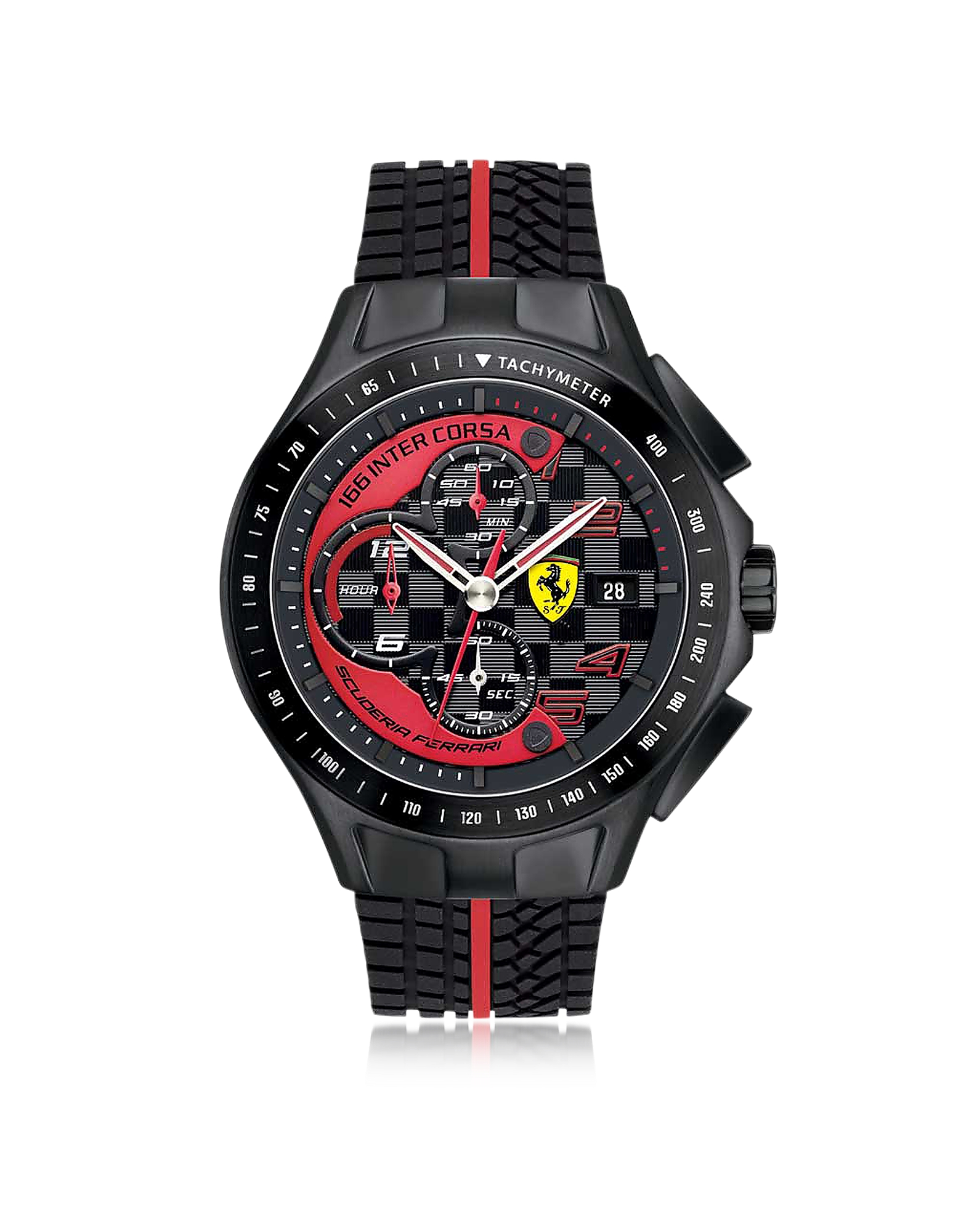 Ferrari Designer Men's Watches, Race Day Black and Red Stainless Steel Case and Silicone Strap Men's