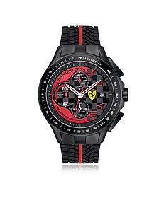 Race Day Herrenuhr mit Chronograph aus Edelstahl in schwarz und rot mit Silikonarmband - Ferrari