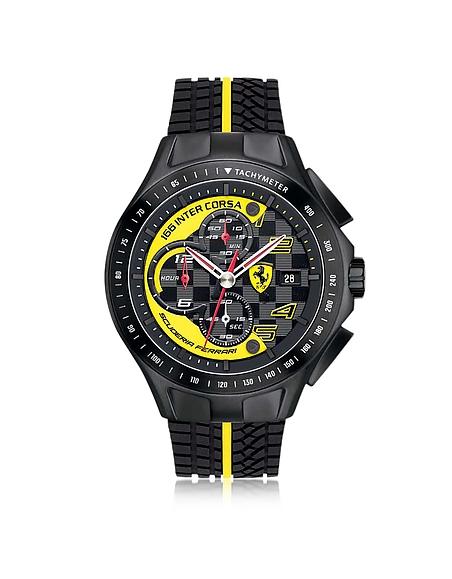 Foto Ferrari Race Day Orologio con Cronografo in Acciaio e Silicone Nero/Giallo Orologi Uomo