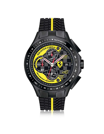 Ferrari - Race Day Black and Yellow Stainless Steel Case and Silicone Strap Men's Chrono Watch