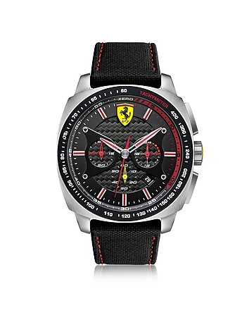 Ferrari - Aero Evo Silver Tone Stainless Steel Case and Black Nylon Strap Men's Watch