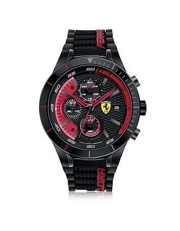 RedRev Evo Black and Red Stainless Steel Case and Silicone Strap Men's Chrono Watch