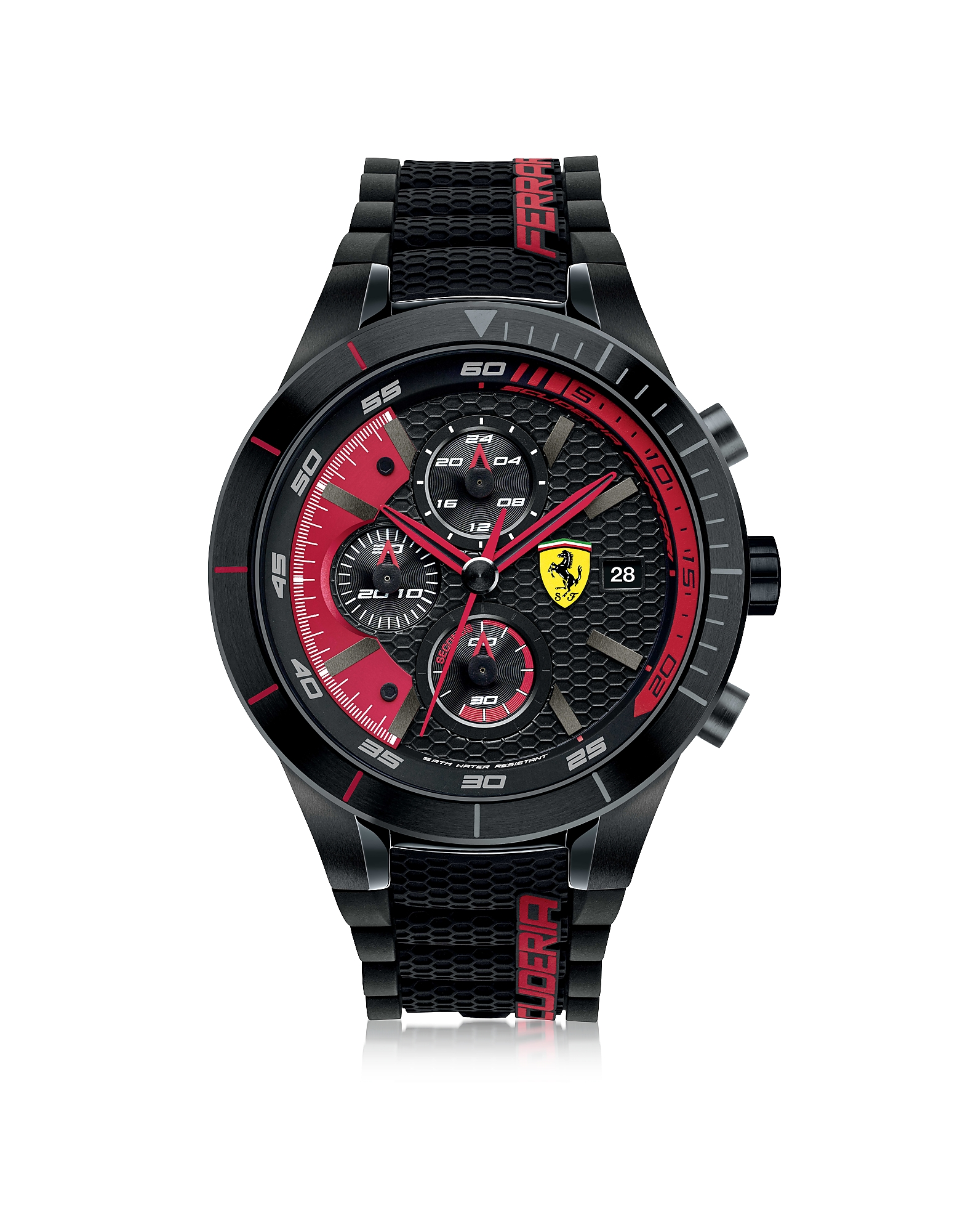 Ferrari Men's Watches, RedRev Evo Black and Red Stainless Steel Case and Silicone Strap Men's Chrono