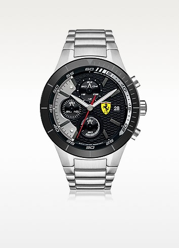 Ferrari Red Rev Evo - Серебристые Мужские Часы Хронограф из Нержавеющей Стали с Силиконовым Ремешком