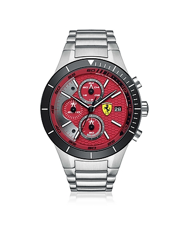Ferrari RedRev Evo - Montre Chronographe Homme en Acier Inoxydable Argent