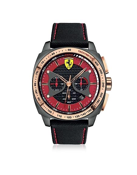 Ferrari Aero Evo Herrenuhr aus Edelstahl mit Nylonarmband in schwarz