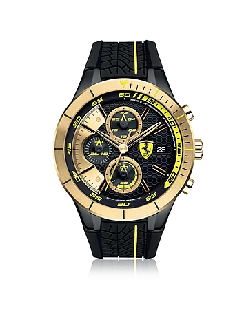 Ferrari - RedRev Evo Black and Gold Stainless Steel Case and Silicone Strap Men's Chrono Watch