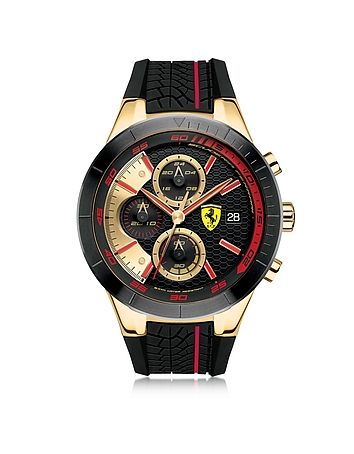 Ferrari - RedRev Evo Gold Tone and Red Stainless Steel Case and Silicone Strap Men's Chrono Watch