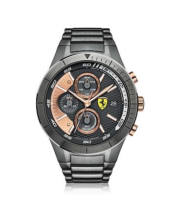 Ferrari RedRev Evo - Montre Chronographe en Acier Inoxydable Gris Anthracite