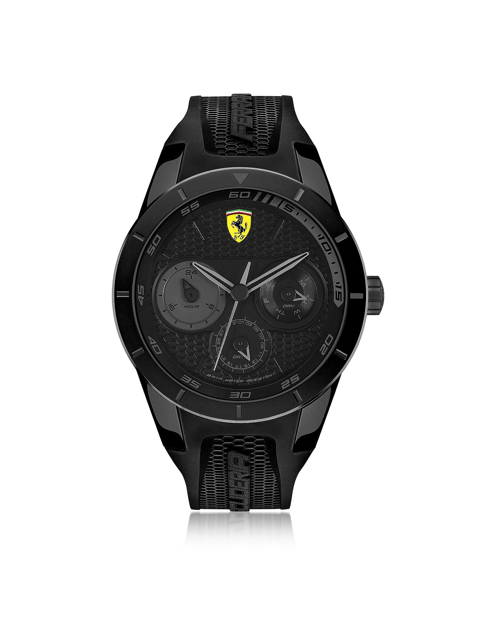 Фото Scuderia Ferrari RedRev - Черные Мужские Часы хронограф из Нержавеющей Стали на Силиконовом Ремешке. Купить с доставкой