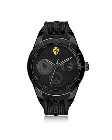 Scuderia Ferrari RedRev Herren Chronouhr aus Edelstahl in schwarz mit Silikonriemen  - Ferrari