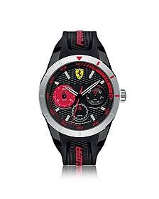 Red Rev T Herrenuhr aus Edelstahl in silber mit Silikonarmband in schwarz - Ferrari