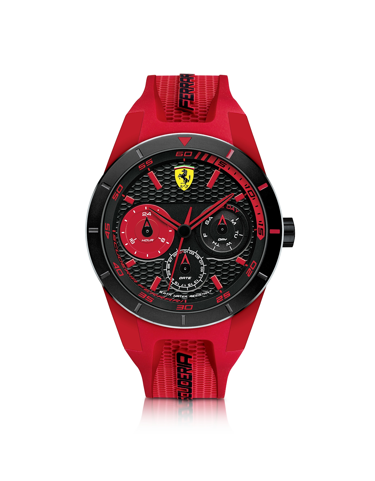 Ferrari Men's Watches, Red Rev T Black Stainless Steel Case and Red Silicone Strap Men's Watch