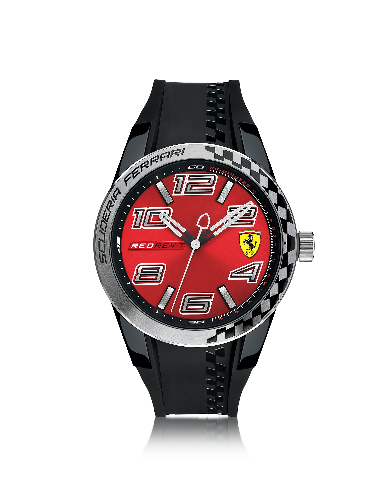 Ferrari Men's Watches, Red Rev T Silver Tone Stainless Steel Case and Black Silicone Strap Men's Wat