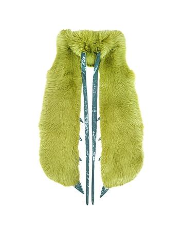 Fearfur - Praying Mantis Green Fox Fur Stole
