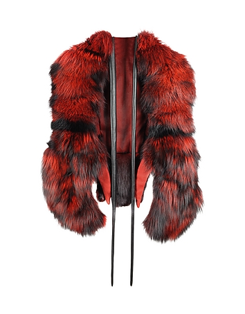 Lobster in Fire Red Swedish Fur Stole