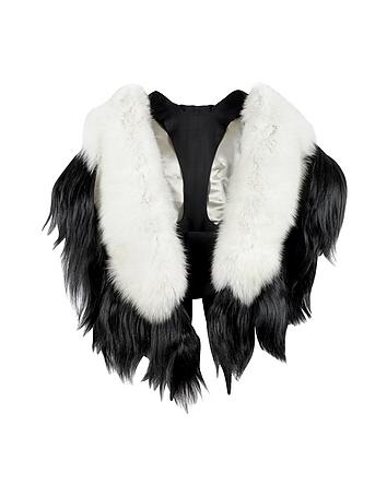 Victorian Wraps, Capes, Shawl, Capelets Bad Black Kite White and Black Fur Stole $2,250.00 AT vintagedancer.com