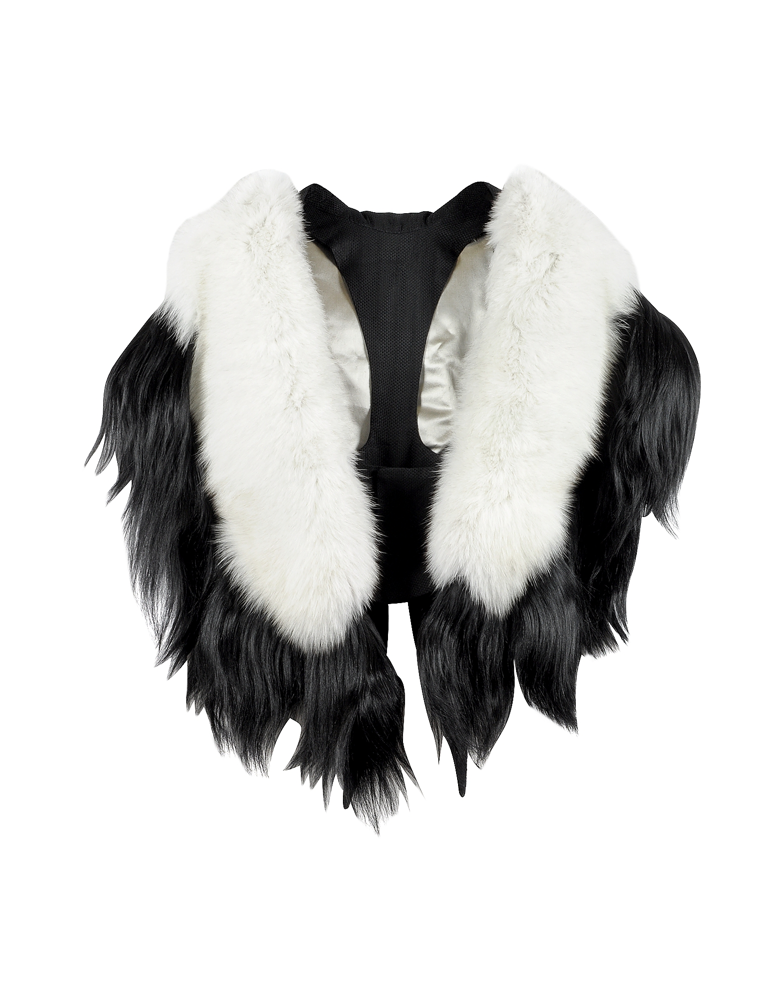 Bad Black Kite White and Black Fur Stole