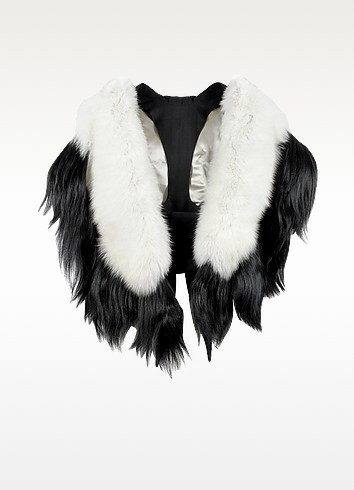 Bad Black Kite White and Black Fur Stole - Fearfur