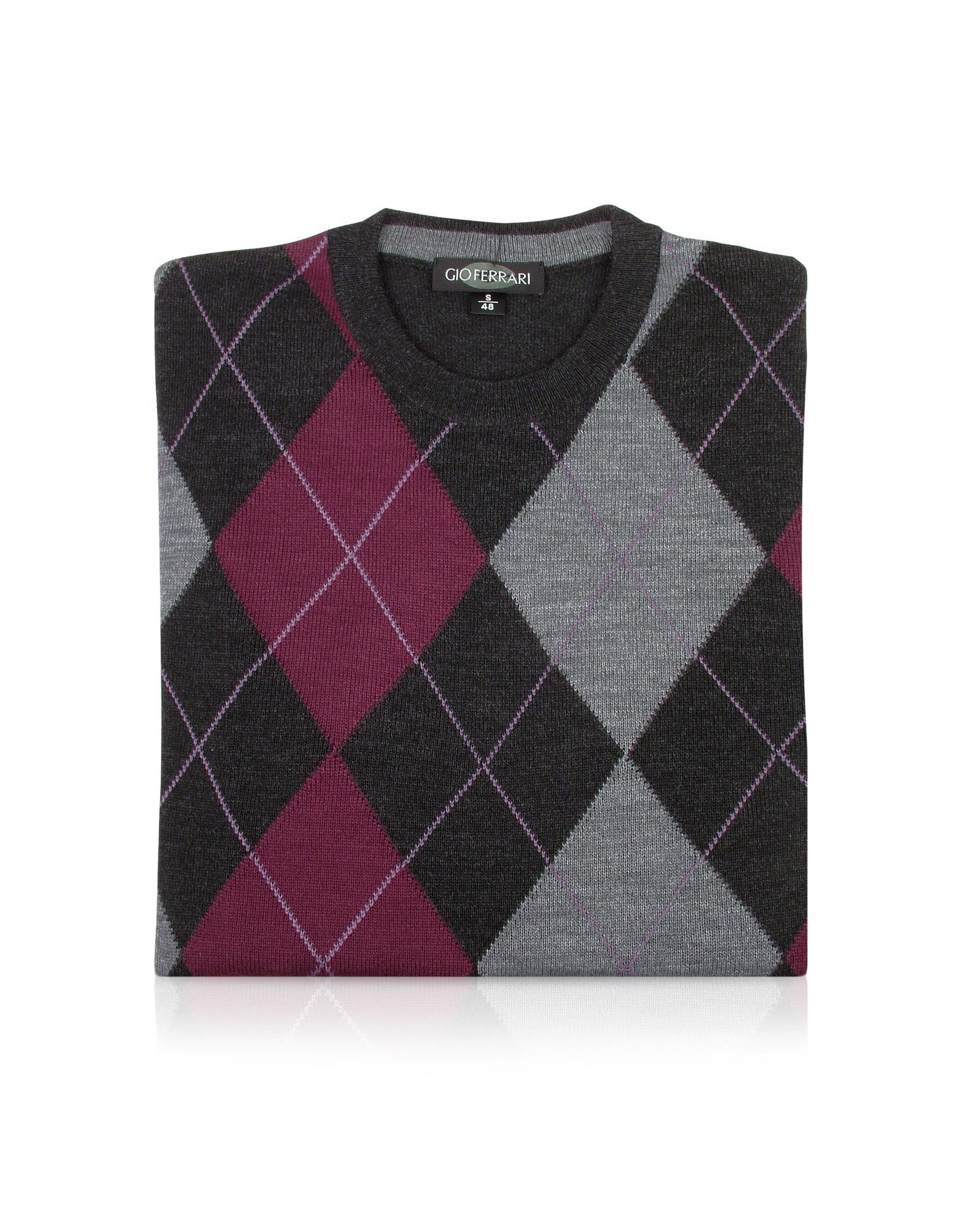 Gio Ferrari Herrensweater aus Wolle mit Rautenmuster