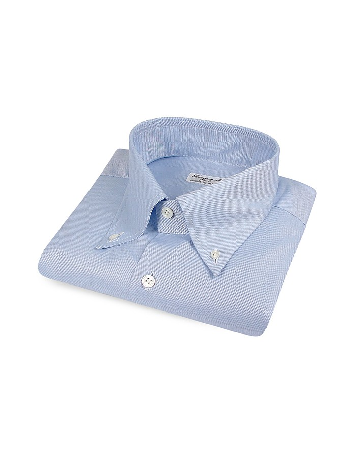 Blue Italian Handmade Slim Button-Down Dress Shirt - Finamore