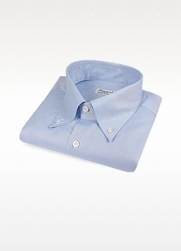Blue Italian Handmade Slim Button-Down Dress Shirt - Finamore