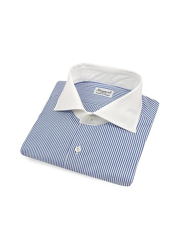 Finamore Blue Stripe w/ White Collar Italian Handmade Cotton Dress Shirt :  mens fashion button down italian handmade italian fashion