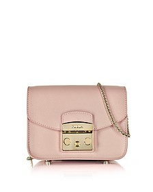 Metropolis Moonstone Leather Mini Crossbody Bag  - Furla
