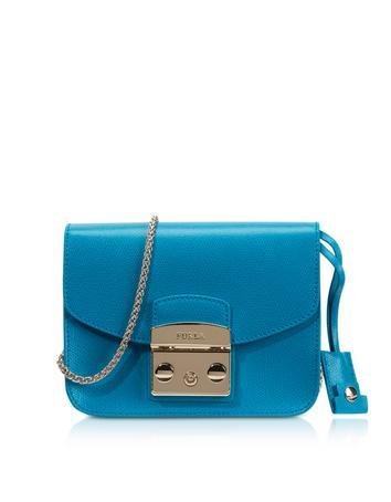 Metropolis Turquoise Leather Mini Crossbody Bag