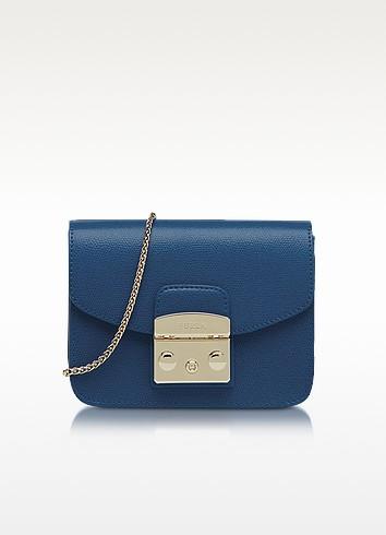 Metropolis Mini Blue Ginepro Leather Crossbody Bag - Furla