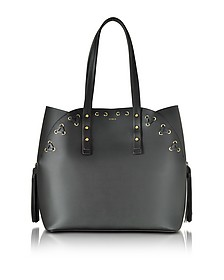 Black Leather Aurora Medium Tote Bag  - Furla