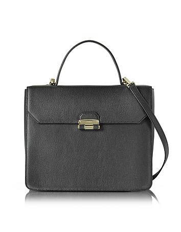 Black Chiara Medium Top Handle Satchel Bag