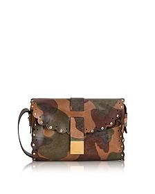 Amazzone Chocolate Camouflage Leather Mini Crossbody Bag - Furla