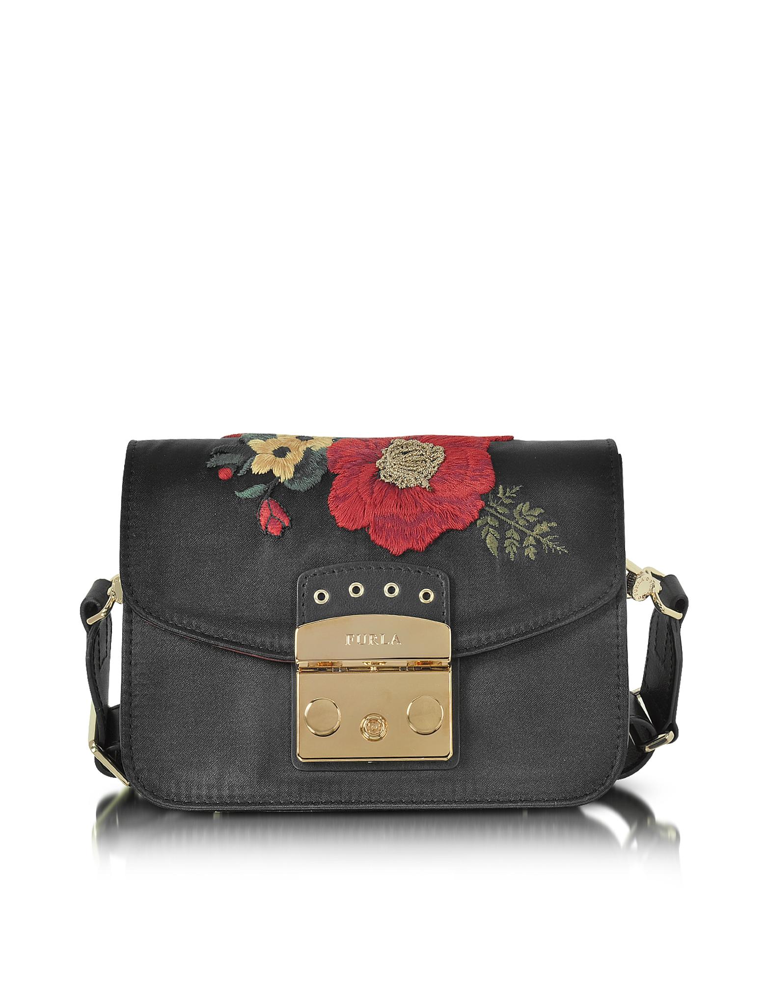 Furla Handbags, Onyx Embroidered Satin Metropolis Floral Mini Crossbody Bag