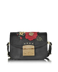 Onyx Embroidered Satin Metropolis Floral Mini Crossbody Bag - Furla