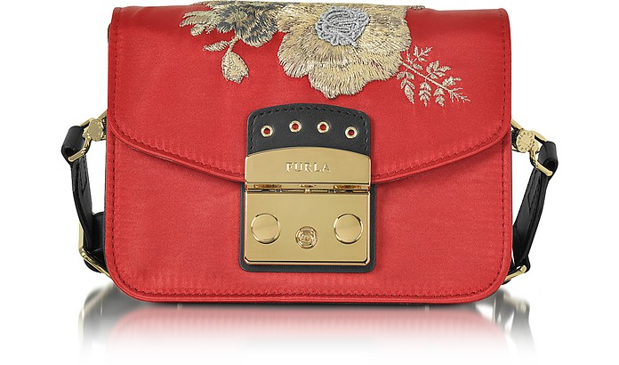 Red Peperoncino Embroidered Satin Metropolis Floral Mini Crossbody Bag - Furla