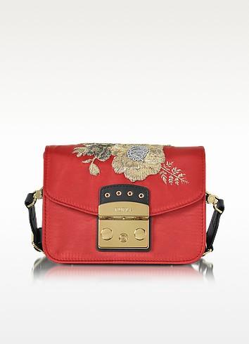 Red Peperoncino Embroidered Satin Metropolis Floral Mini Crossbody Bag - Furla