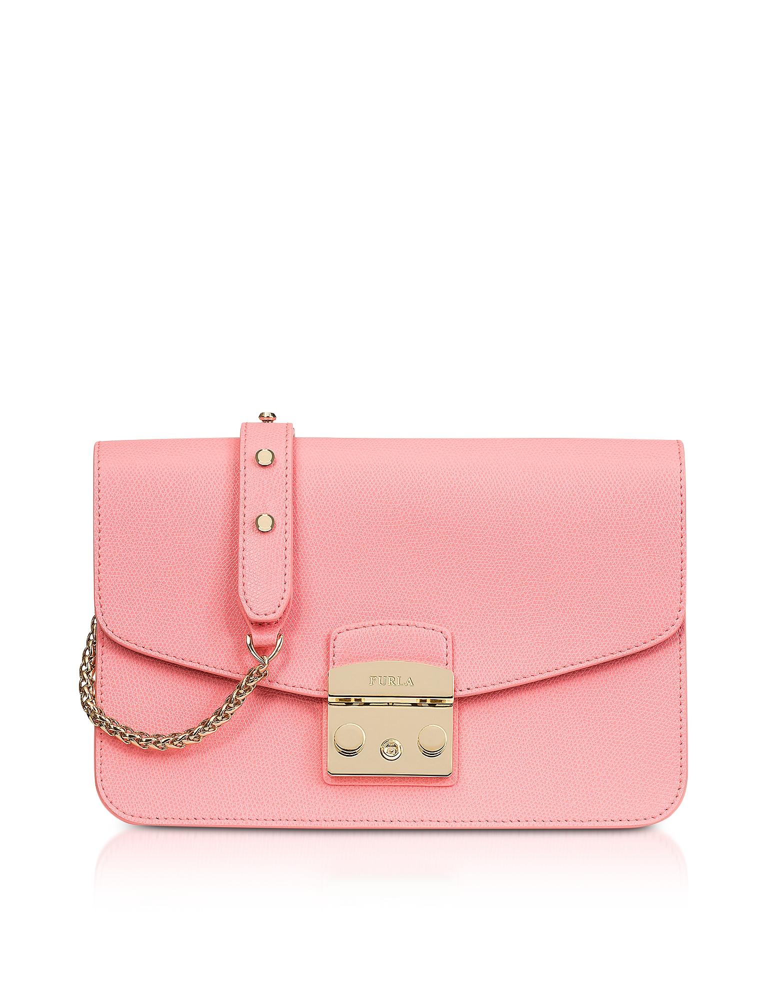 Furla Handbags, Rose Quartz Leather Metropolis Small Shoulder Bag