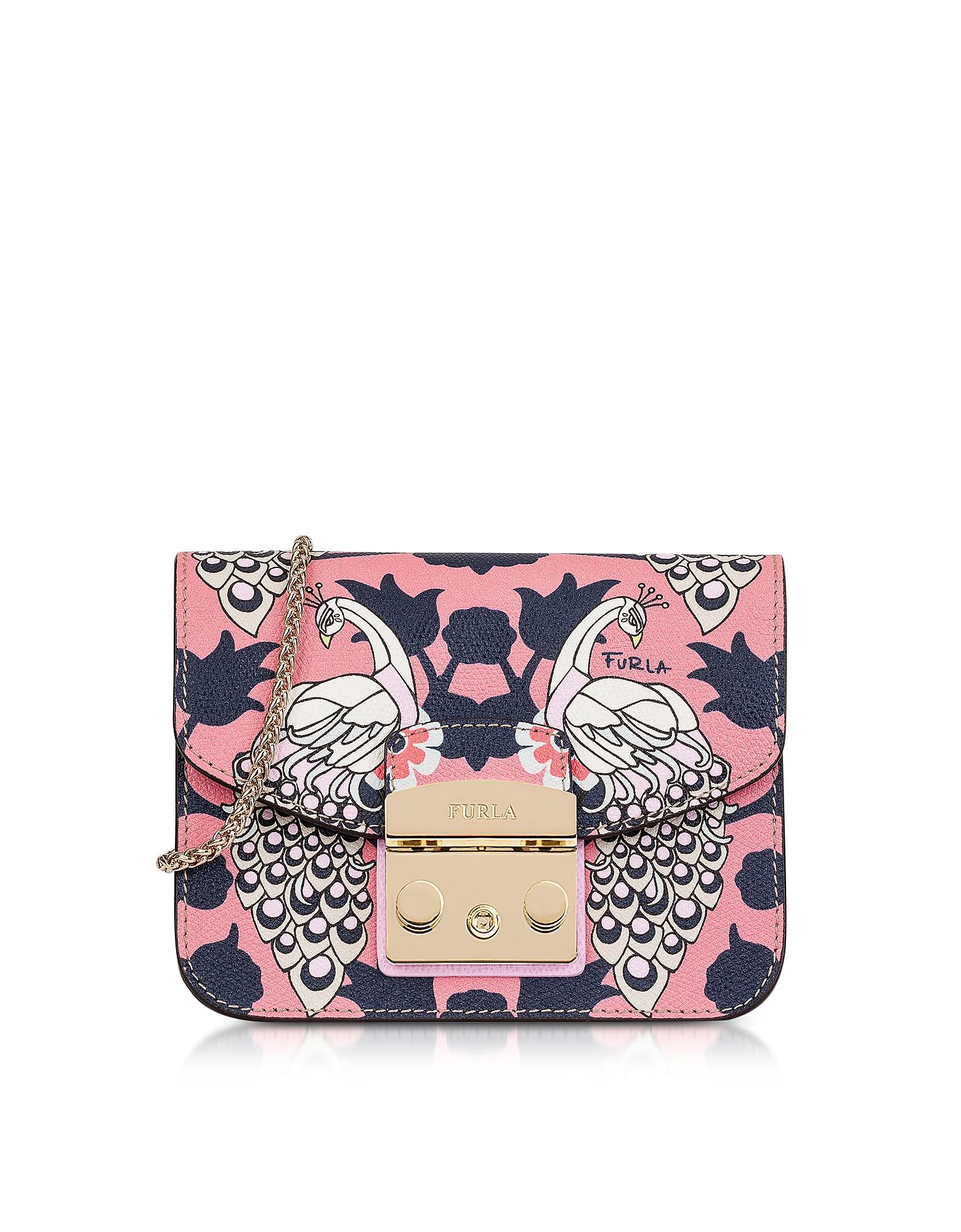 Furla Handbags, Toni Orchidea Floris Printed Leather Metropolis Mini Crossbody Bag