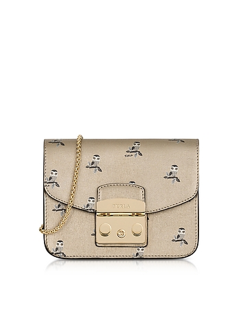 Toni Gold Mini Owl Printed Saffiano Leather Metropolis Mini Crossbody Bag