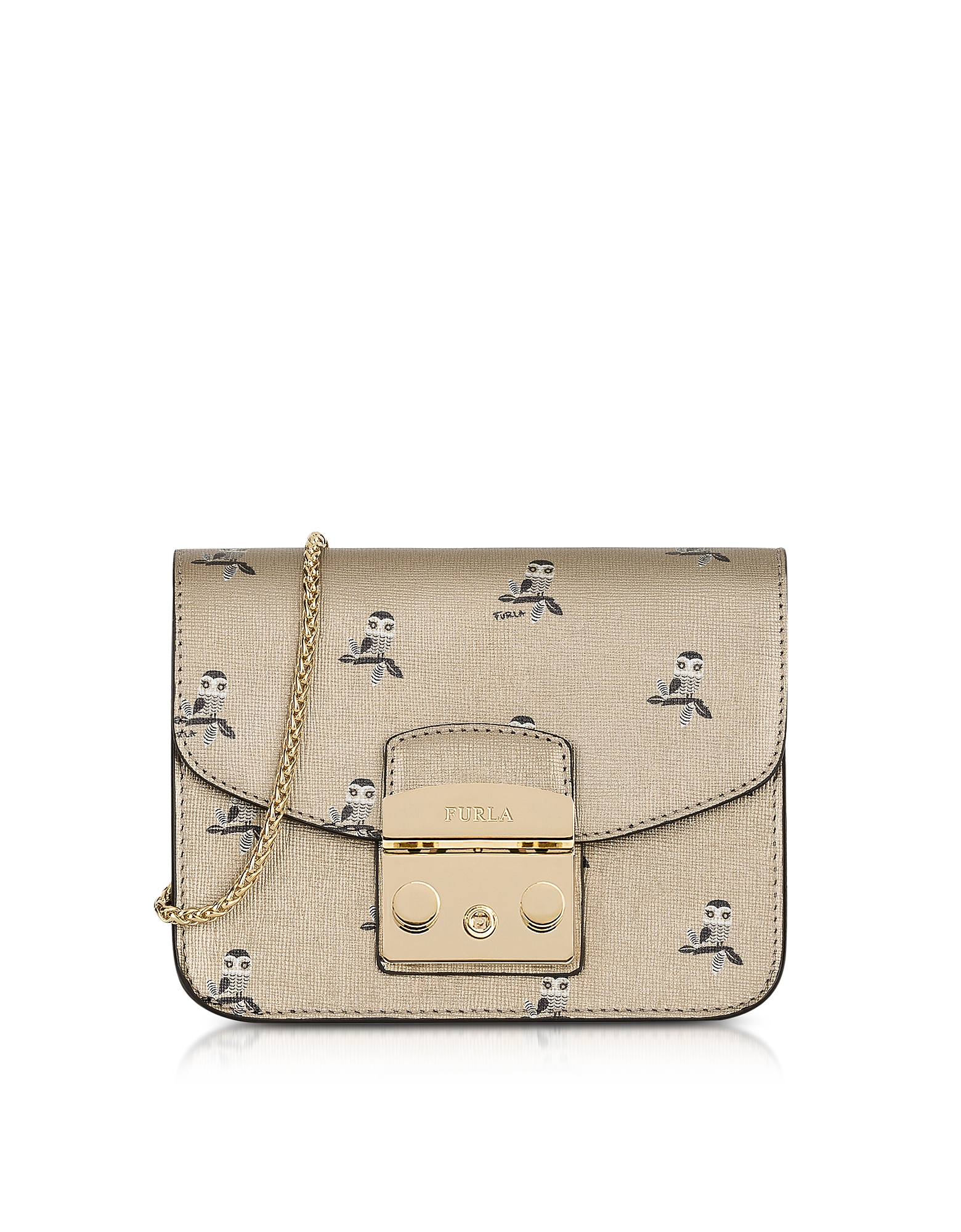 Furla Handbags, Toni Gold Mini Owl Printed Saffiano Leather Metropolis Mini Crossbody Bag