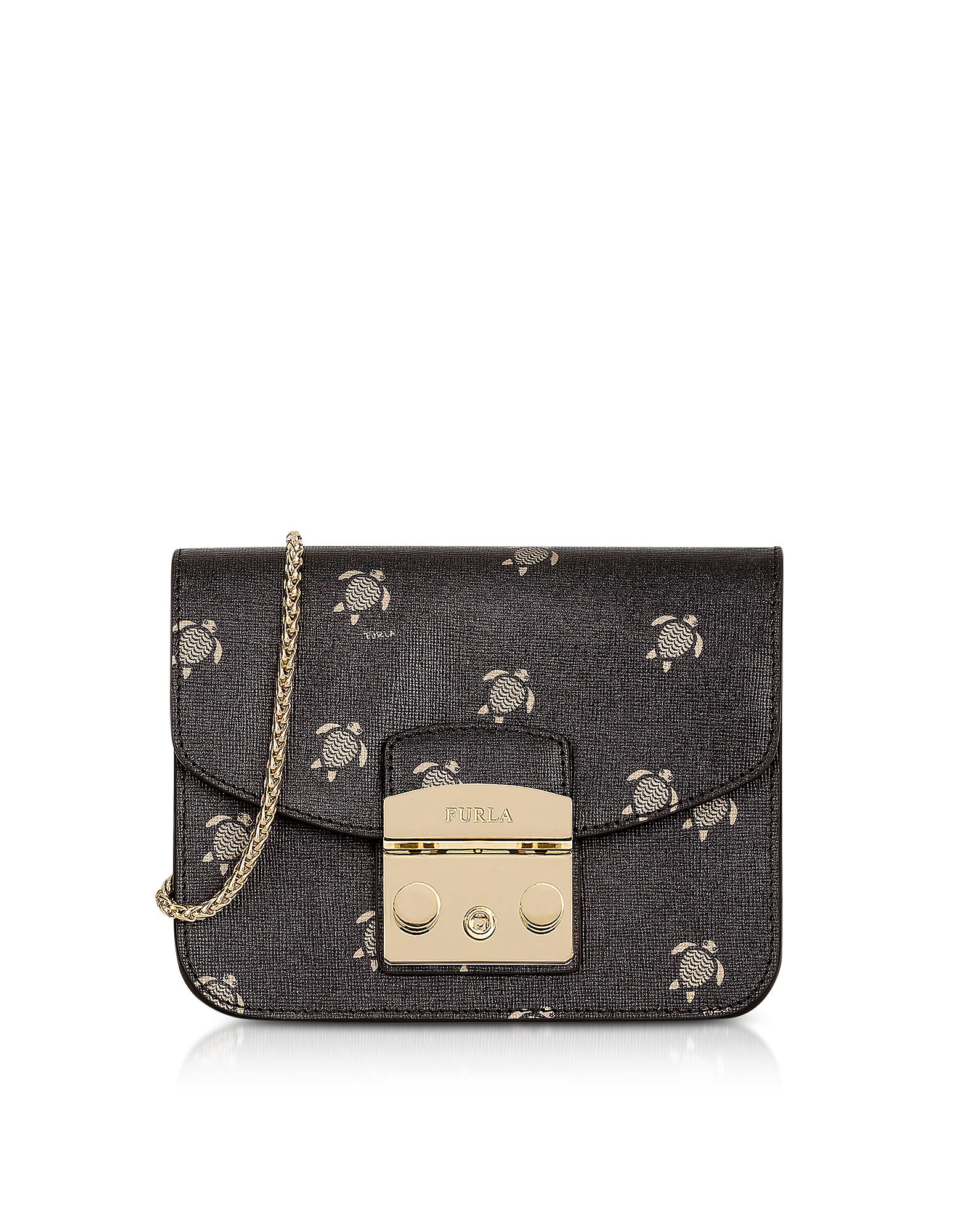 Furla Handbags, Toni Onyx Mini Turtle Printed Saffiano Leather Metropolis Mini Crossbody Bag