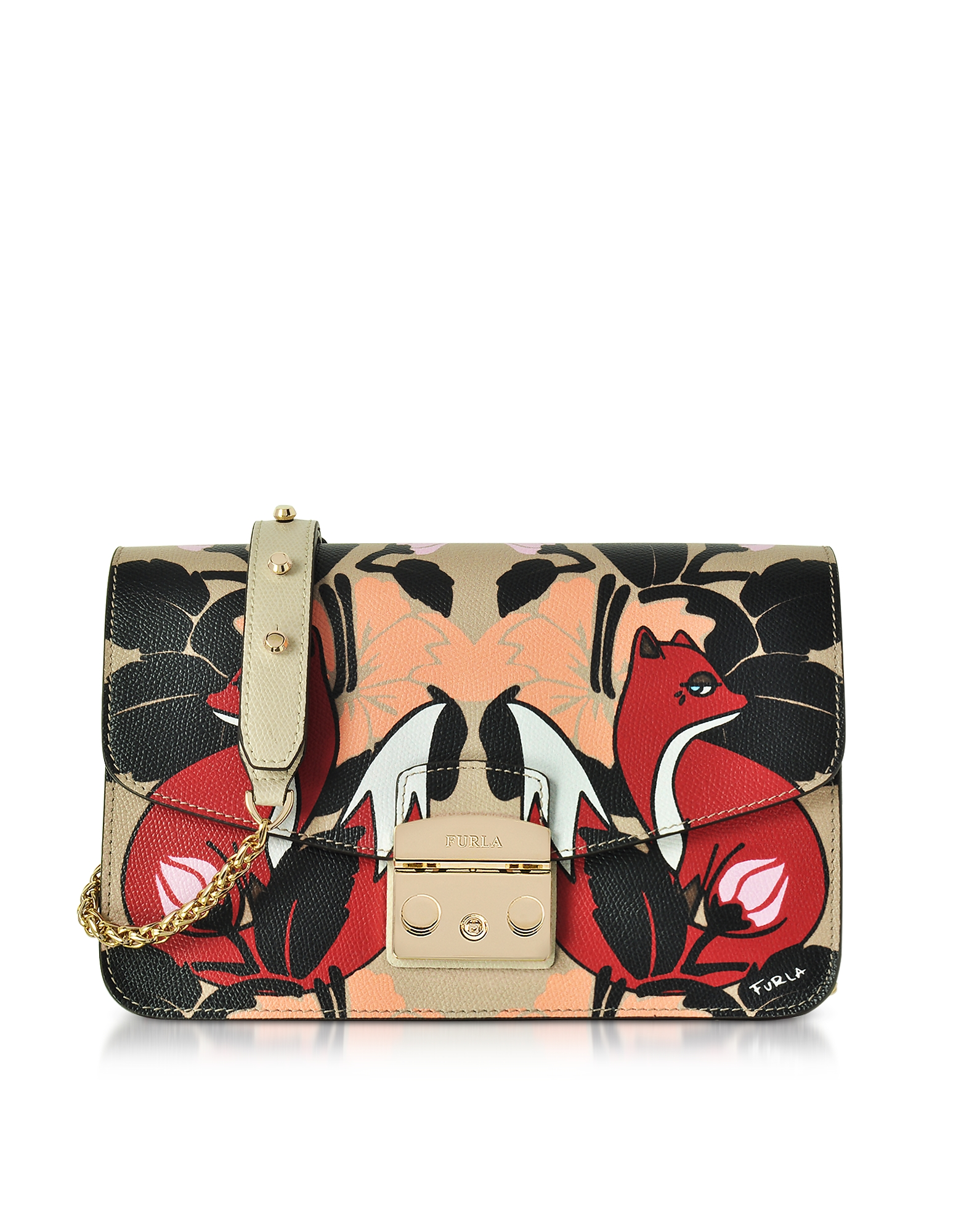 Furla Handbags, Toni Mercurio Fox Printed Leather Metropolis Small Shoulder Bag