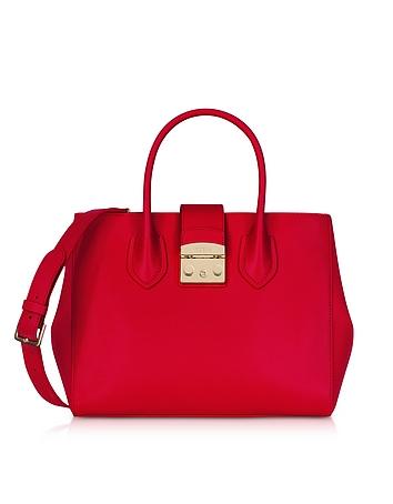 Ruby Leather Metropolis Medium Tote Bag